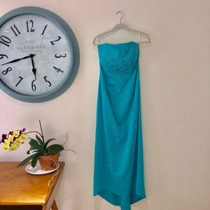 Deeah K Dresses - Turquoise Strapless Gown w/Train, Large